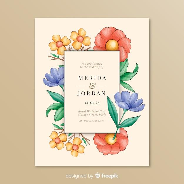 Zaproszenie na ślub z kolorową ramką kwiatowy Darmowych Wektorów