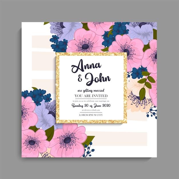 Zaproszenie na ślub z kolorowy kwiat. Darmowych Wektorów