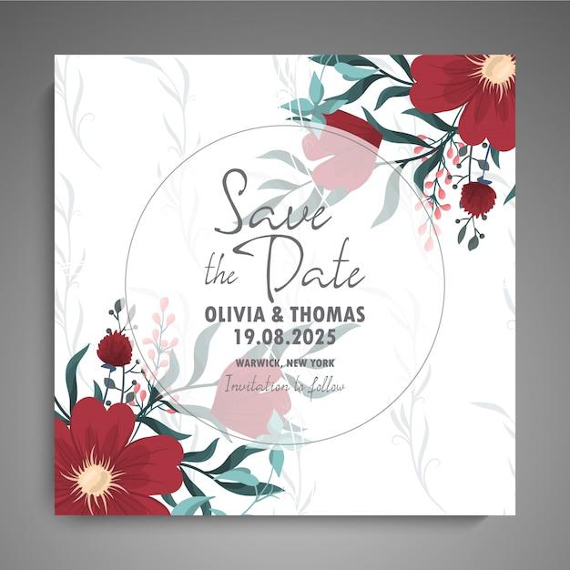 Zaproszenie Na ślub Z Kolorowym Kwiatem. Darmowych Wektorów