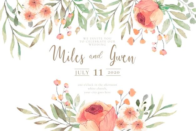 Zaproszenie na ślub z kwiatami akwarela gotowy do druku Darmowych Wektorów