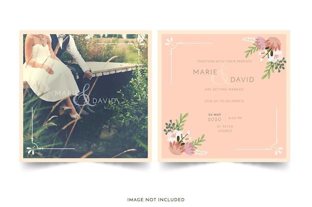 Zaproszenie na ślub z kwiatami Darmowych Wektorów
