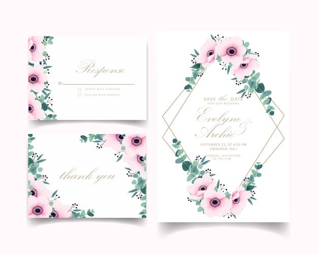 Zaproszenie na ślub z kwiatów anemon i eukaliptusa Premium Wektorów