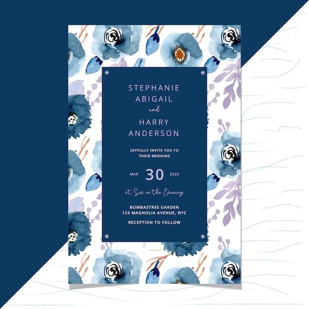 Zaproszenie na ślub z kwiatowy wzór tła Premium Wektorów