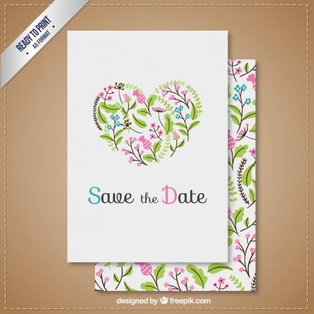Zaproszenie Na ślub Z Kwiatowym Sercem Darmowych Wektorów