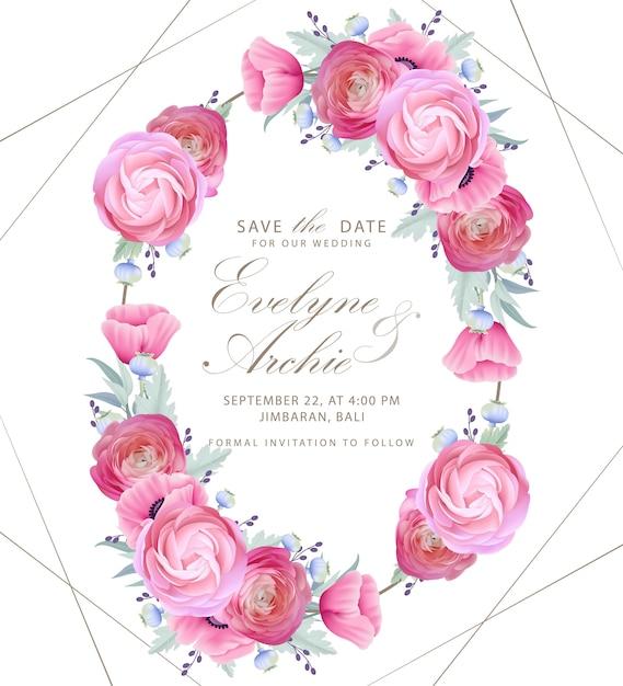 Zaproszenie na ślub z kwiatowymi kwiatami ranunculus i makiem Premium Wektorów