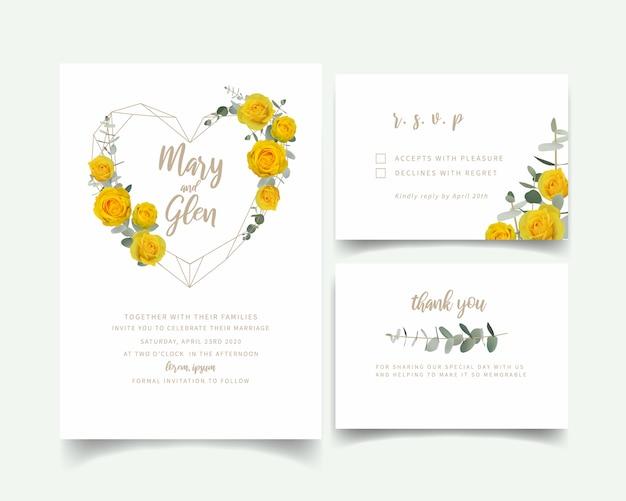 Zaproszenie na ślub z kwiatowymi żółtymi różami Premium Wektorów