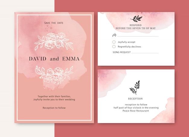 Zaproszenie na ślub z liśćmi romantyczna, kreatywna akwarela kwiatowa Darmowych Wektorów