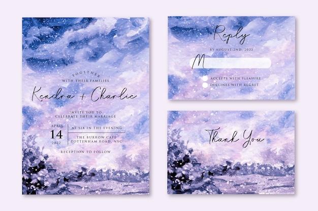 Zaproszenie Na ślub Z Marzycielskim Zimowym Akwarelą Premium Wektorów