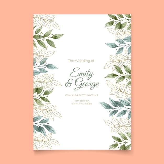 Zaproszenie Na ślub Z Ornamentami Roślinnymi Darmowych Wektorów