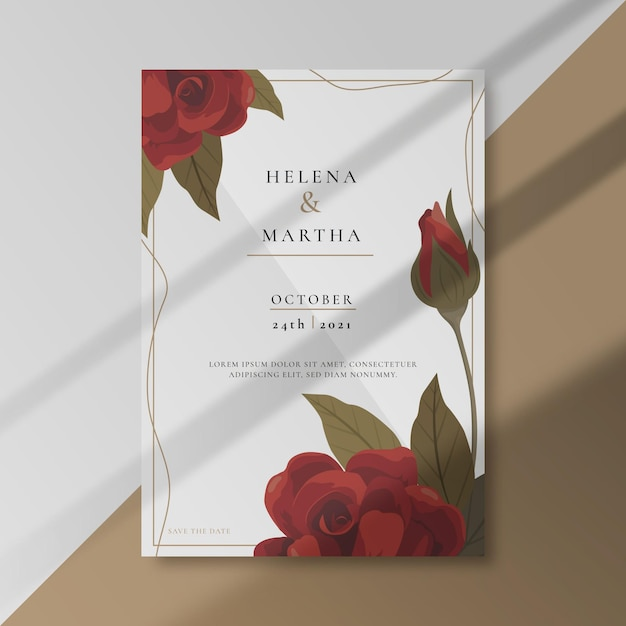 Zaproszenie Na ślub Z Ozdobami Róż Darmowych Wektorów