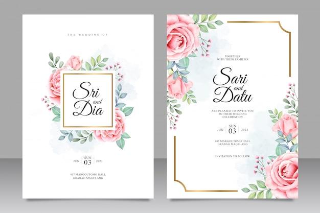 Zaproszenie Na ślub Z Piękną Akwarelą Kwiatową Premium Wektorów