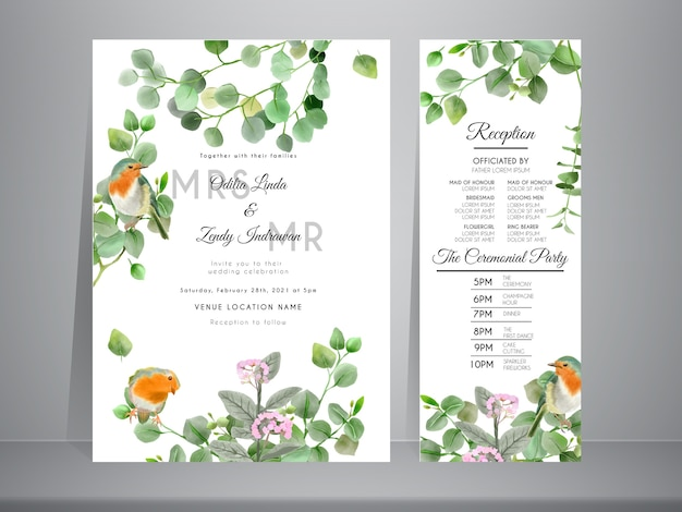 Zaproszenie Na ślub Z Piękną, Ręcznie Rysowane Ilustracji Eukaliptusa I Ptaków Premium Wektorów