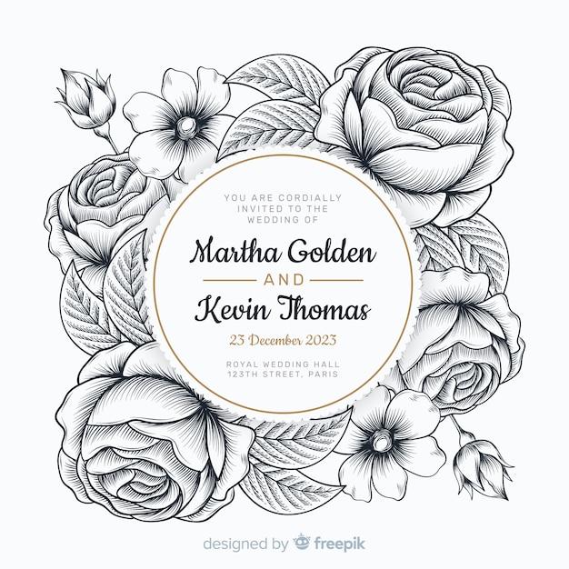 Zaproszenie na ślub z piękne ręcznie rysowane róż Darmowych Wektorów