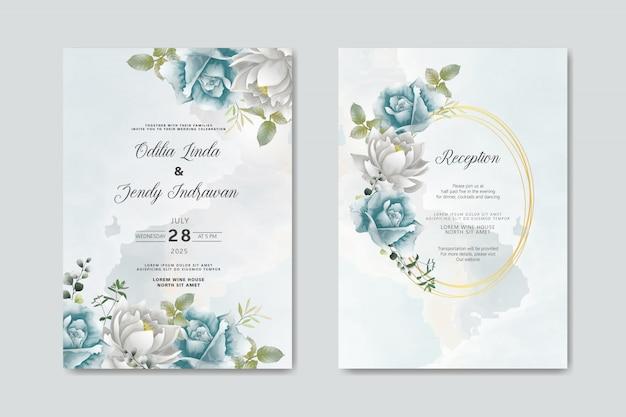 Zaproszenie Na ślub Z Pięknym I Eleganckim Kwiatowym Wzorem Premium Wektorów