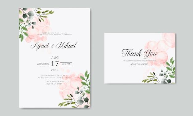 Zaproszenie na ślub z pięknym kwiatem i liśćmi Premium Wektorów