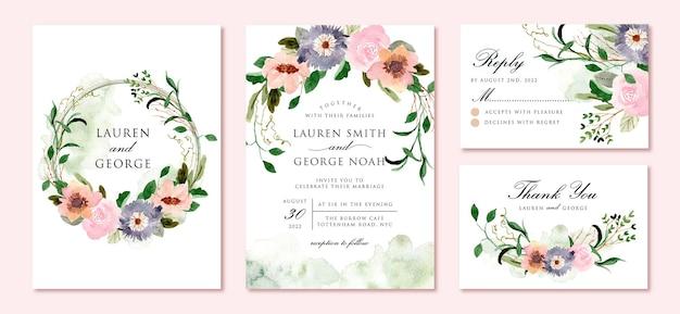 Zaproszenie Na ślub Z Pięknym Rustykalnym Akwarelą Kwiatową Premium Wektorów