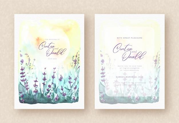 Zaproszenie Na ślub Z Pięknymi Fioletowymi Kwiatami Premium Wektorów