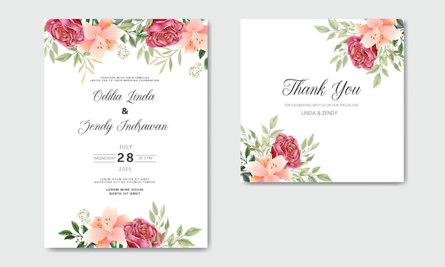 Zaproszenie Na ślub Z Pięknymi I Romantycznymi Kwiatami Premium Wektorów