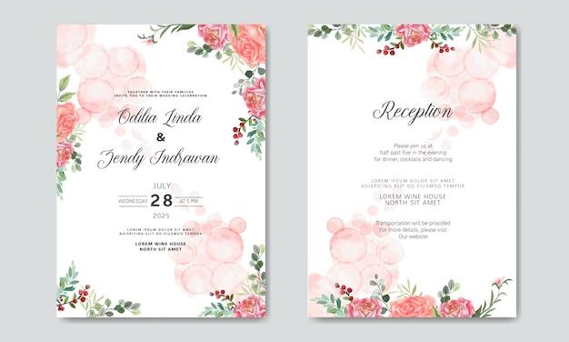 Zaproszenie Na ślub Z Pięknymi I Romantycznymi Szablonami Kwiatów Premium Wektorów