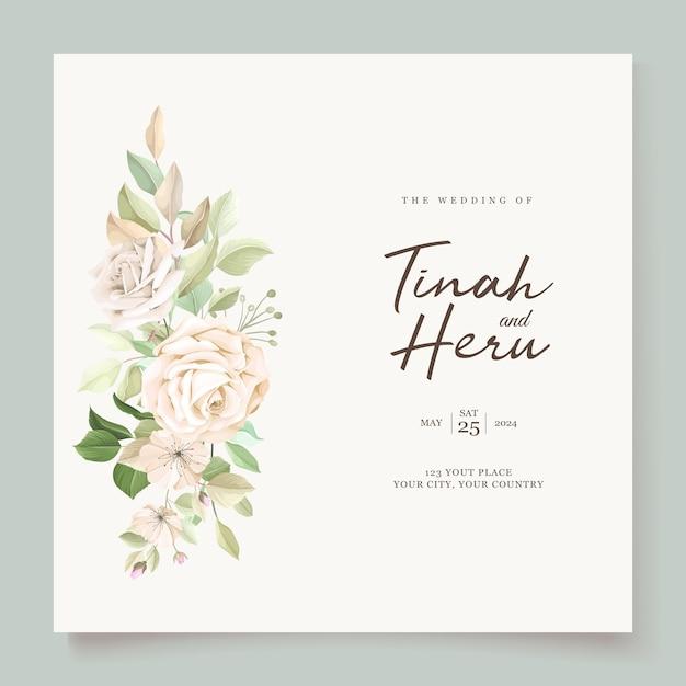 Zaproszenie Na ślub Z Pięknymi Różami Darmowych Wektorów