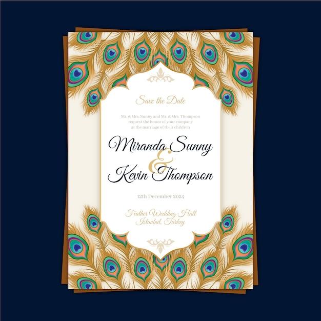 Zaproszenie Na ślub Z Piórami Pawia Darmowych Wektorów
