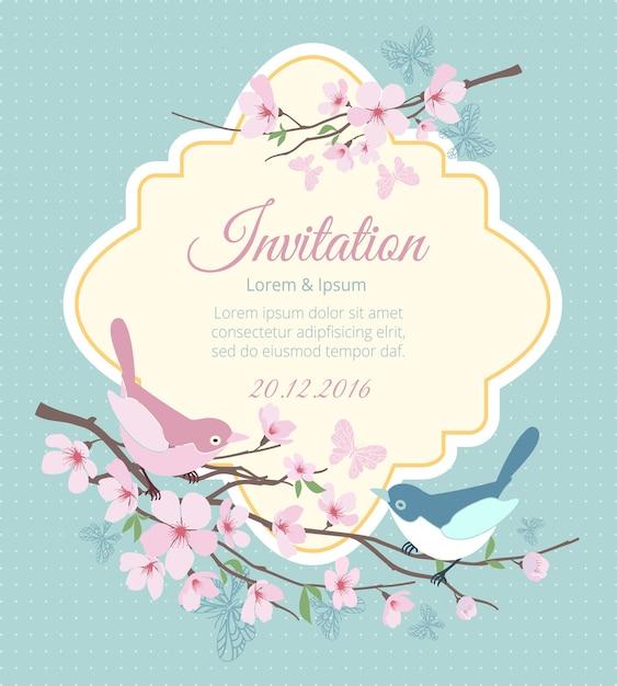Zaproszenie Na ślub Z Ptakami I Kwitnącymi Gałęziami. Kwiat Wiosny, Kwiatowy I Wydarzenie. Ilustracji Wektorowych Darmowych Wektorów