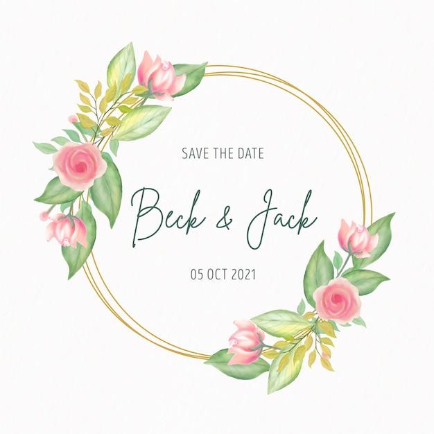 Zaproszenie Na ślub Z Ramą W Kwiaty Akwarela Darmowych Wektorów