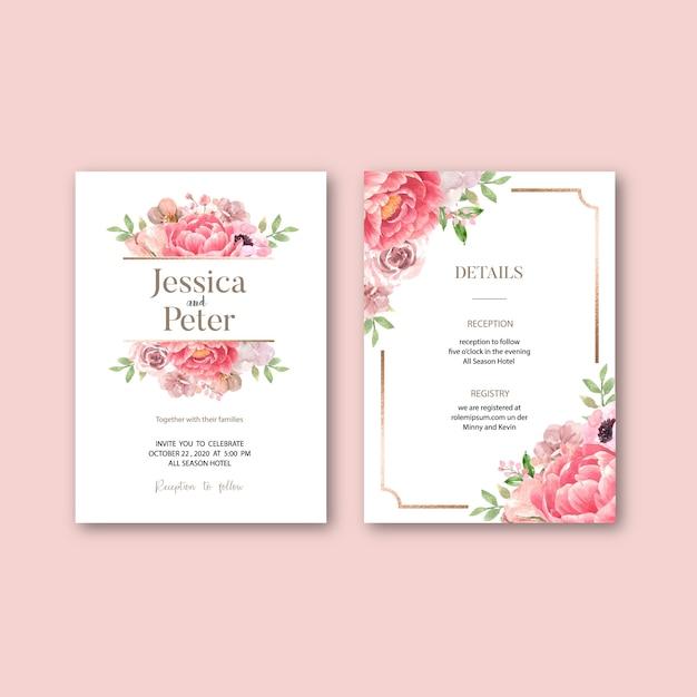 Zaproszenie na ślub z romantycznymi liśćmi Darmowych Wektorów