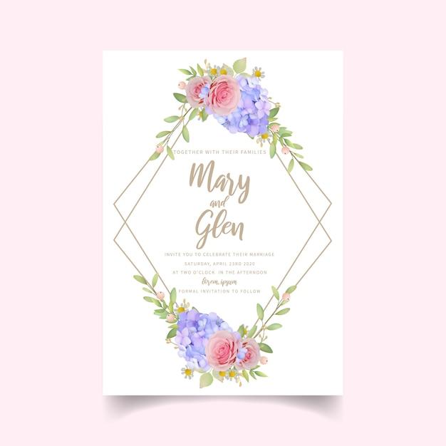 Zaproszenie Na ślub Z Różowymi Kwiatowymi Różami I Hortensją Premium Wektorów