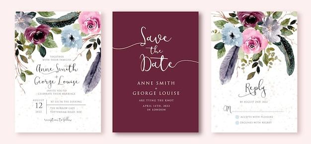 Zaproszenie Na ślub Z Rustykalną Akwarelą Kwiatów I Piór Premium Wektorów