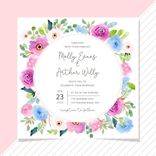 Zaproszenie na ślub z słodkie akwarela kwiatowy ramki Premium Wektorów