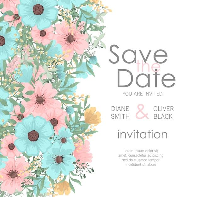 Zaproszenie na ślub z słodkie kwiaty Darmowych Wektorów