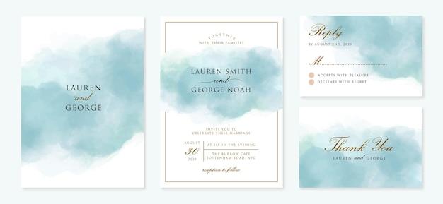 Zaproszenie Na ślub Z Streszczenie Niebieskim Tle Premium Wektorów