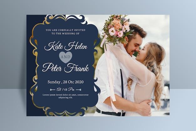 Zaproszenie na ślub z szablonem fotograficznym Darmowych Wektorów