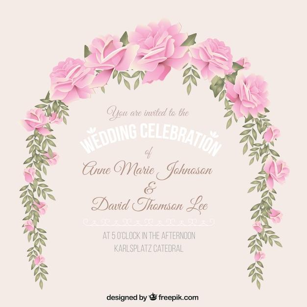 Zaproszenie Na ślub Z Wieniec Kwiatów Darmowych Wektorów