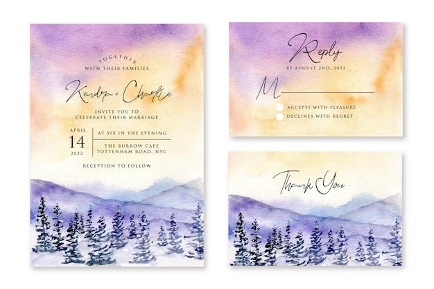 Zaproszenie Na ślub Z Zimowym Krajobrazem Akwarela Premium Wektorów