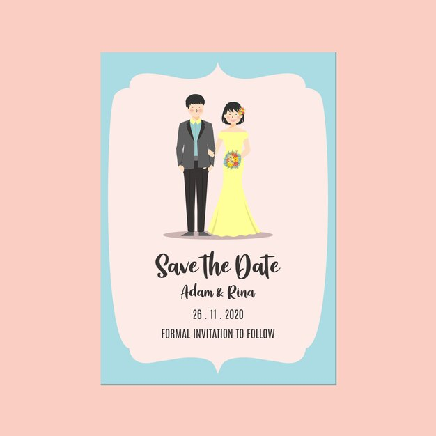 Zaproszenie Na ślub Zapisz Datę Szablon Para Trzymając Rękę I Kwiat Premium Wektorów