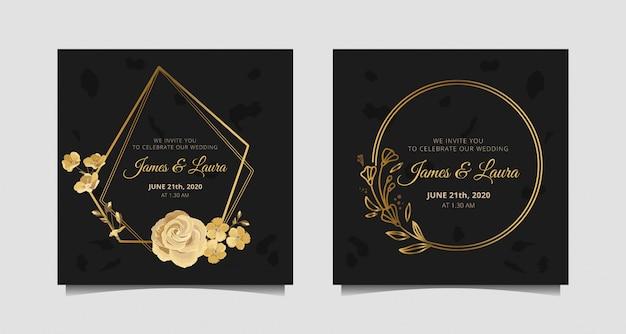 Zaproszenie Na ślub Ze Złotą Różą, Rośliną, Kołem I Sześciokątną Ramką Premium Wektorów