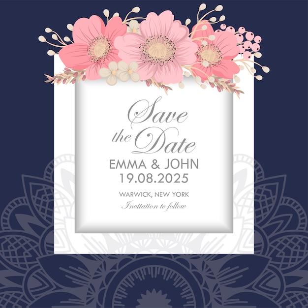 Zaproszenie na ślub Darmowych Wektorów