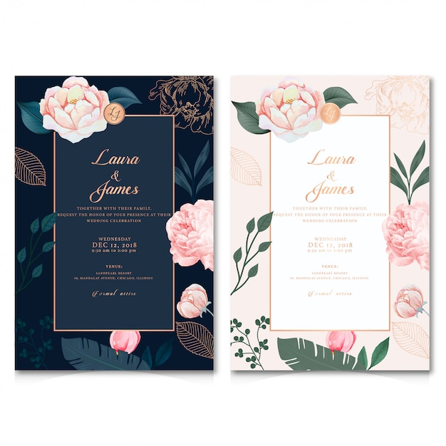 Zaproszenie na ślub Premium Wektorów