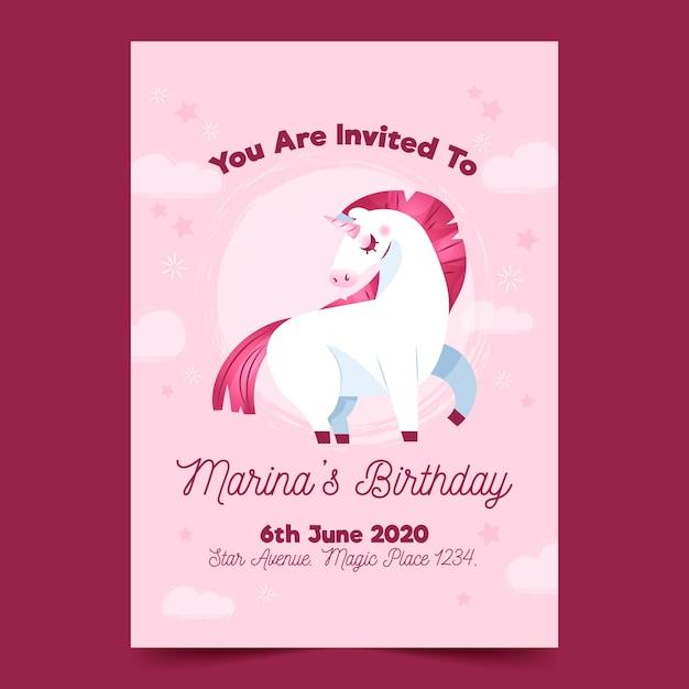 Zaproszenie Na Urodziny Dla Dzieci Z Szablonem Jednorożca Darmowych Wektorów