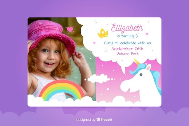 Zaproszenie na urodziny dla dzieci ze zdjęciem Darmowych Wektorów