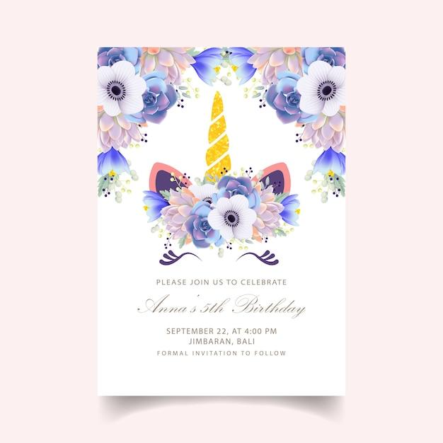 Zaproszenie na urodziny kwiatów dla dzieci z uroczym jednorożcem Premium Wektorów