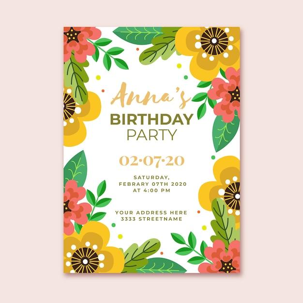 Zaproszenie Na Urodziny Kwiatowy Szablon Darmowych Wektorów