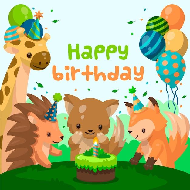 Zaproszenie Na Urodziny Płaska Z Kreskówek Zwierząt Darmowych Wektorów