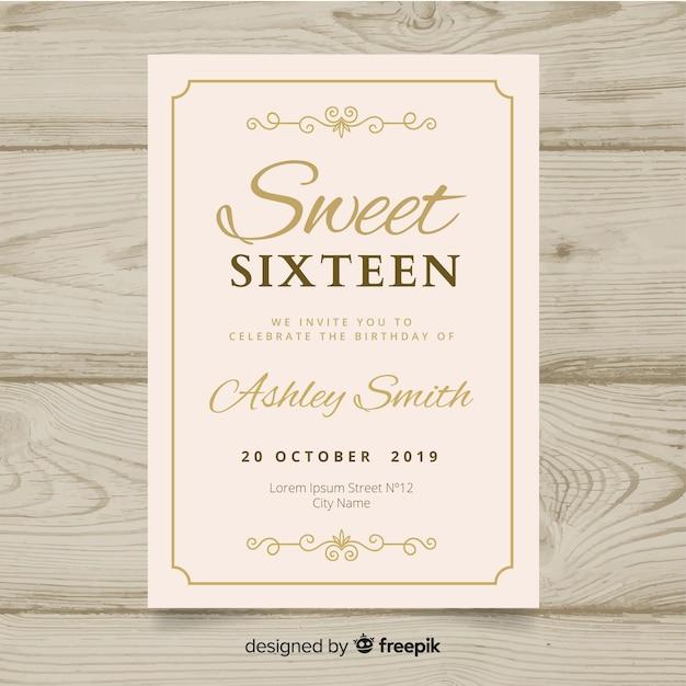Zaproszenie na urodziny słodkiej szesnastki Darmowych Wektorów