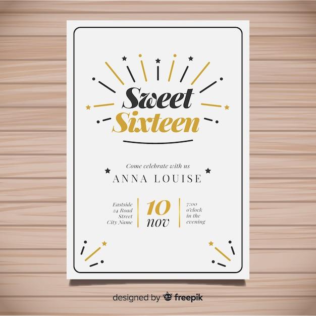 Zaproszenie na urodziny słodycze szesnaście Darmowych Wektorów