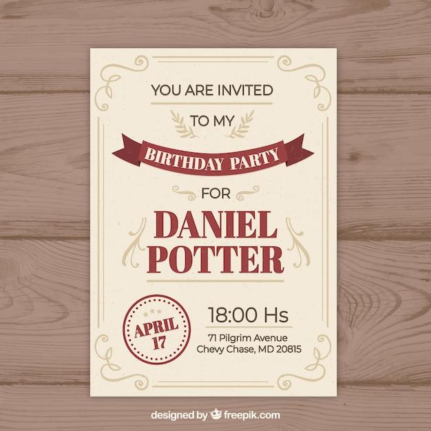 Zaproszenie Na Urodziny W Stylu Vintage Wektor Darmowe Pobieranie