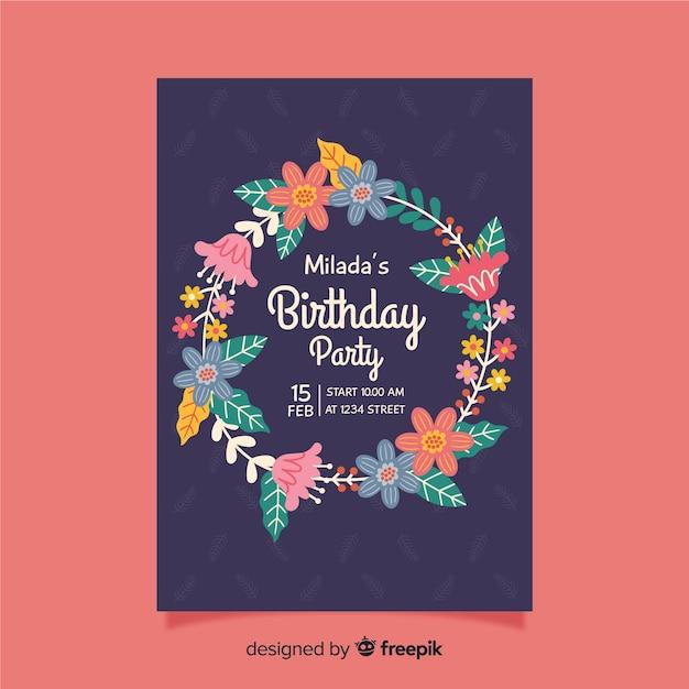 Zaproszenie Na Urodziny Z Kwiatowym Wzorem Darmowych Wektorów