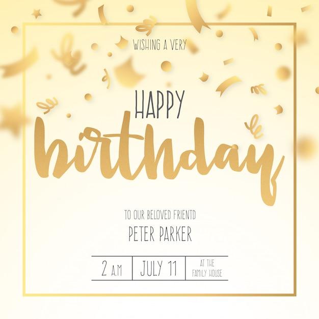 Zaproszenie na urodziny z złote konfetti Darmowych Wektorów